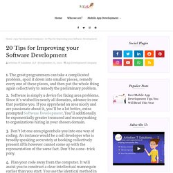 20 Tips for Improving your Software Development