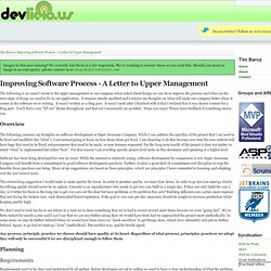 Improving Software Process - A Letter to Upper Management - Tim