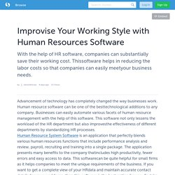 Improvise Your Working Style with Human Resources Software