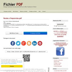 Parole a l'improviste.pdf par Alexandra - Fichier PDF