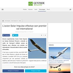 L'avion Solar Impulse effectue son premier vol international