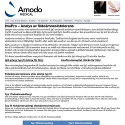 ImuPro - analys av födoämnesintolerans