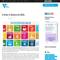 *****Voices of Youth: In Order to Achieve the SDGs