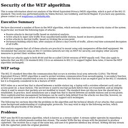 (In)Security of the WEP algorithm