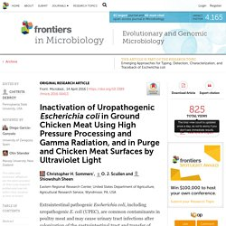 FRONTIERS IN MICROBIOLOGY 14/04/16 Inactivation of Uropathogenic Escherichia coli in Ground Chicken Meat Using High Pressure Processing and Gamma Radiation, and in Purge and Chicken Meat Surfaces by Ultraviolet Light