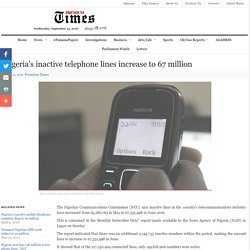 Nigeria's inactive telephone lines increase to 67 million
