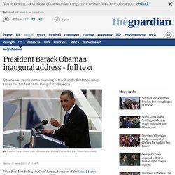 Obama's inaugural address – full text