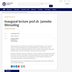 Inaugural lecture prof.dr. Janneke Wesseling - Leiden University