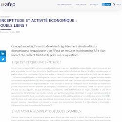 Incertitude et activité économique : quels liens ? – AFEP