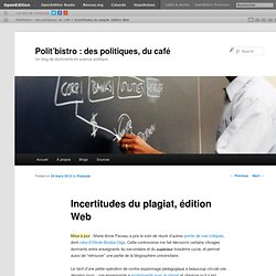 Incertitudes du plagiat, édition Web