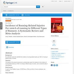 Incidence of Running-Related Injuries Per 1000 h of running in Different Types of Runners: A Systematic Review and Meta-Analysis