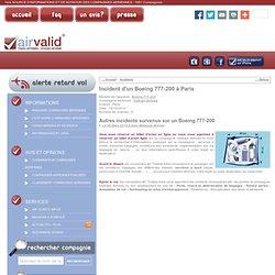 Air Valid ® - Incident aérien Vietnam Airlines Boeing 777-200 Paris