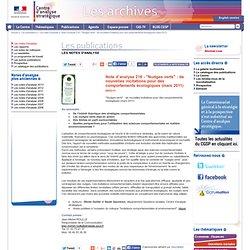 """Note d'analyse 216 - """"Nudges verts"""" : de nouvelles incitations pour des comportements écologiques (mars 2011"""