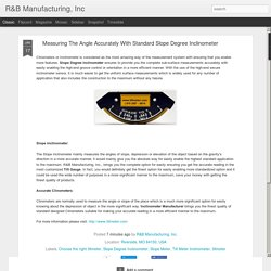 R&B Manufacturing, Inc: Measuring The Angle Accurately With Standard Slope Degree Inclinometer