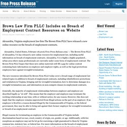 Brown Law Firm PLLC Includes on Breach of Employment Contract Resources on Website
