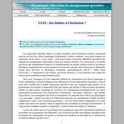 ULIS : des limites à l'inclusion ? (Claudine Ourghanlian)