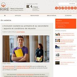 L'inclusion scolaire au primaire et au secondaire