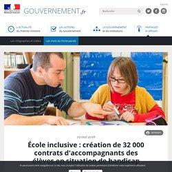 École inclusive : création de 32 000 contrats d'accompagnants des élèves en situation de handicap