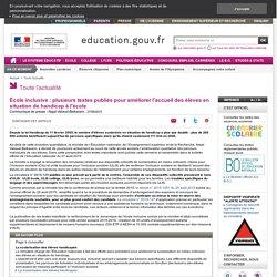 École inclusive : plusieurs textes publiés pour améliorer l'accueil des élèves en situation de handicap à l'école