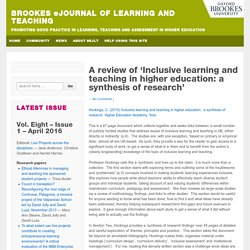 A review of 'Inclusive learning and teaching in higher education: a synthesis of research'