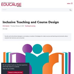Inclusive Teaching and Course Design