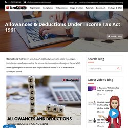 Income Tax Allowances, Income Tax Deductions, Income Tax Act 1961