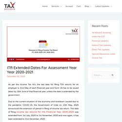 Income Tax Return Filing Due Date Extended for FY 2019-20