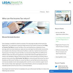 Who can file Income Tax Return?
