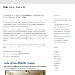 Daily Income Society Software Review Is Daily Income Society Software SCAM Or Real?