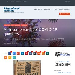 An incomplete list of COVID-19 quackery