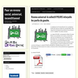 Revenu universel: le collectif POURS interpelle les partis de gauche.
