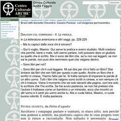 Brani letti durante l'incontro: Cesare Pavese: «un'esigenza permanente» - Centro Culturale Archè Foggia