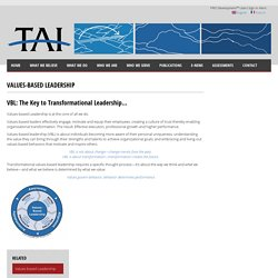 TAI Incorporated » Values-based Leadership » Higher Performance Through Values-Based Leadership