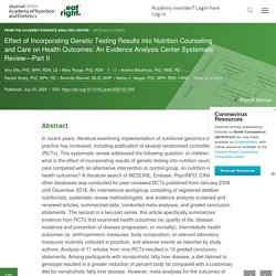 Effect of Incorporating Genetic Testing Results into Nutrition Counseling and Care on Health Outcomes: An Evidence Analysis Center Systematic Review—Part II - Journal of the Academy of Nutrition and Dietetics