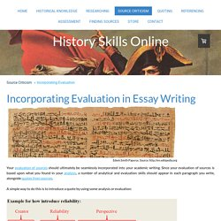 Incorporating Evaluation - History Skills Online