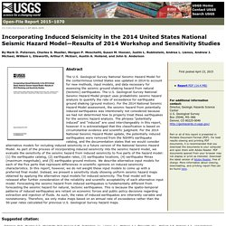 USGS Open-File Report 2015–1070: Incorporating Induced Seismicity in the 2014 United States National Seismic Hazard Model—Results of 2014 Workshop and Sensitivity Studies
