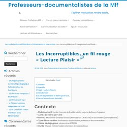 Les Incorruptibles, un fil rouge «Lecture Plaisir» – Professeurs-documentalistes de la Mlf