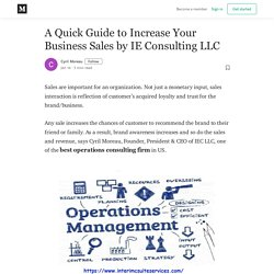 A Quick Guide to Increase Your Business Sales by IE Consulting LLC