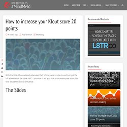 How to increase your Klout score by 20 points