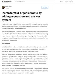 Increase your organic traffic by adding a question and answer system