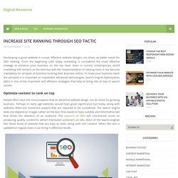 Increase site ranking through SEO tactic