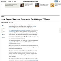 UN Report Shows an Increase in Child Trafficking