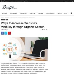 Ways to increase Website's Visibility through Organic Search - Daayri