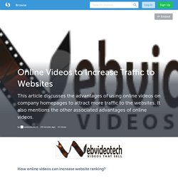 Online Videos to Increase Traffic to Websites (with image) · webvideotech