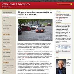 Climate change increases potential for conflict and violence - News Service - Iowa State University