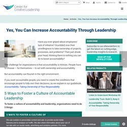 Increasing Accountability Through Leadership