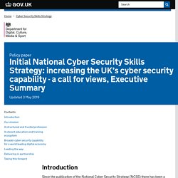 Initial National Cyber Security Skills Strategy: increasing the UK's cyber security capability - a call for views, Executive Summary