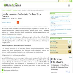 How To Increasing Productivity For Long Term Business