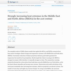 Strongly increasing heat extremes in the Middle East and North Africa (MENA) in the 21st century