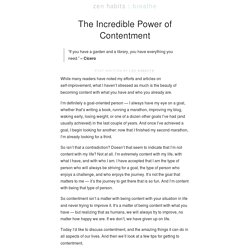 The Incredible Power of Contentment